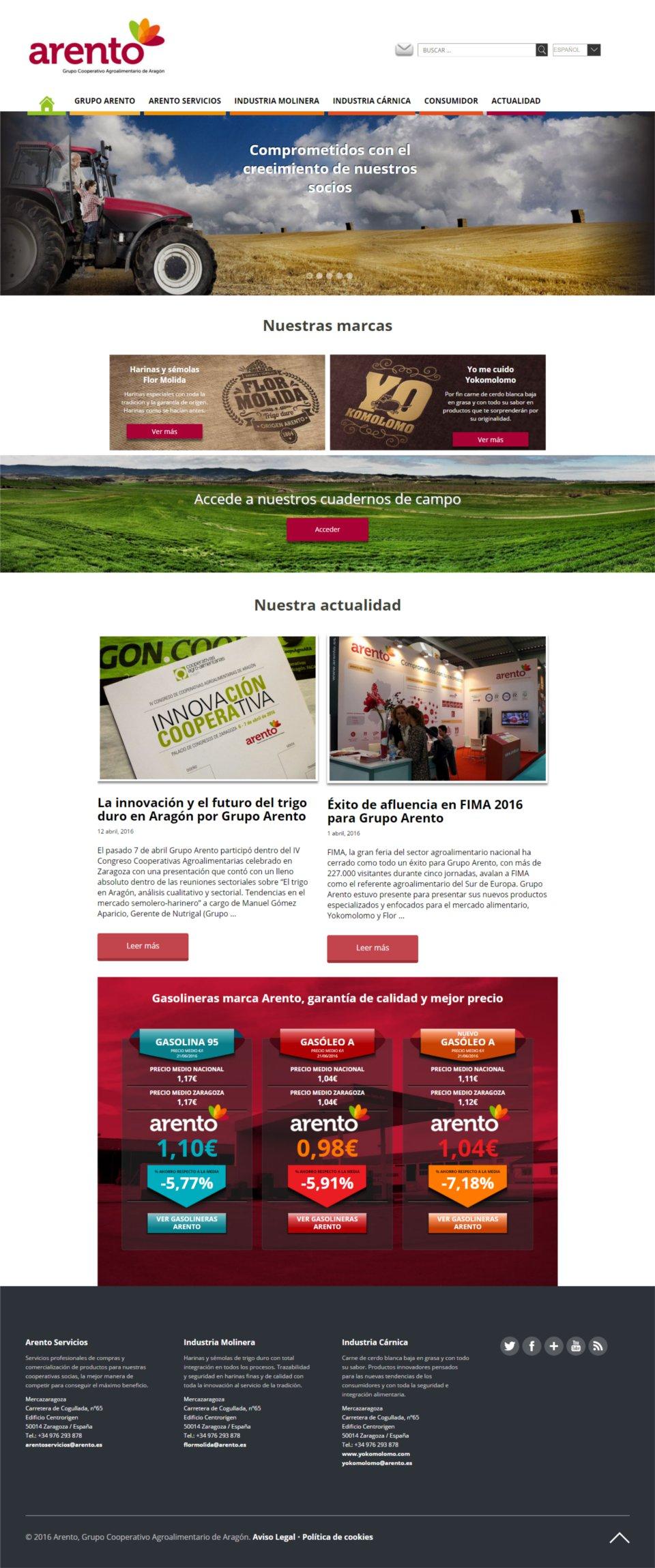 WordPressDeluxe. Grupo Arento. Diseño web corporativo sobre WordPress.