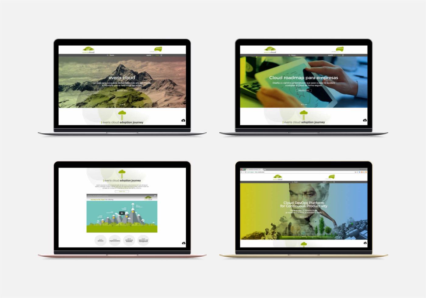 WordPress Deluxe. Referencias. everis Cloud. Website comercial. Laptop